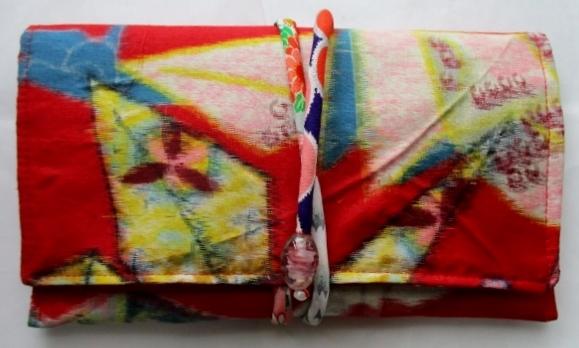 着物リメイク 銘仙で作った和風財布 1820