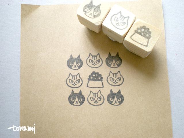 猫の顔+何かのはんこセット5