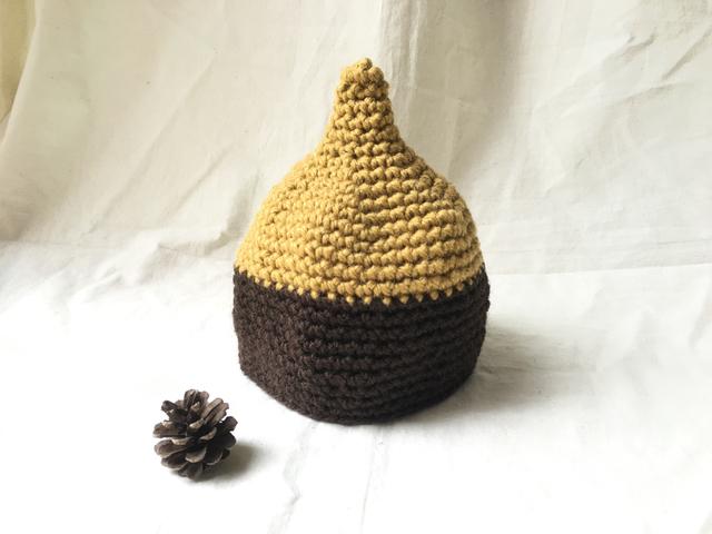 こびと帽子 Sサイズ*バイカラーyellow_brown