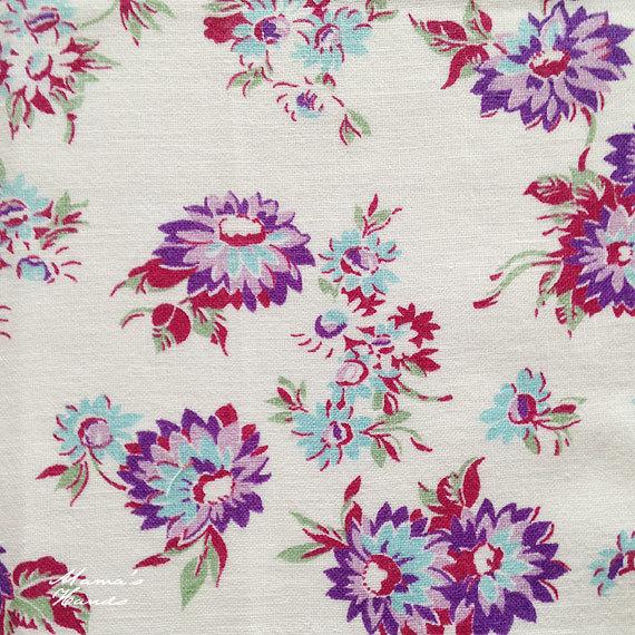紫 花柄 白 フィードサック レア 生地 B