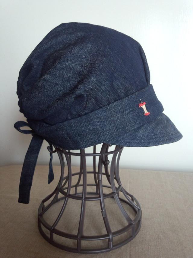 りんごのデニムキャスケット帽