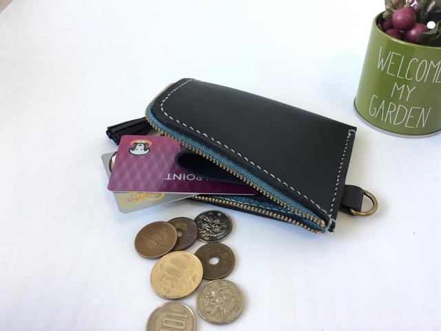 レザー  L字ファスナー財布(黒×水色糸)
