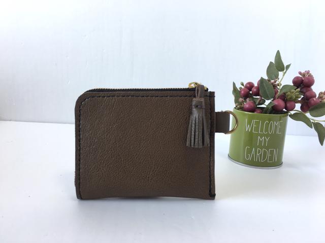 レザーL字ファスナー財布(焦げ茶C×黒糸)