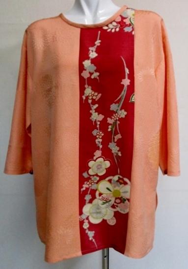着物リメイク 花柄の着物と訪問着で作ったプルオーバー1821