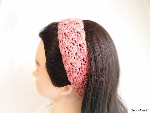 ★ふんわりヘアバンド 手編みピンクトマト