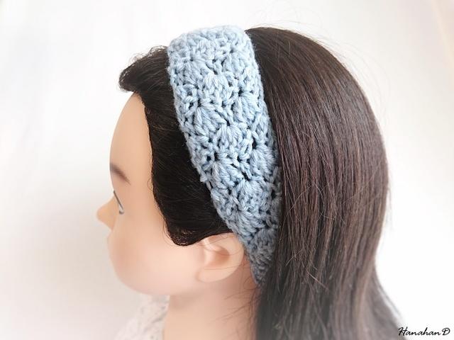 ★ふんわりヘアバンド 手編みサックスブルー