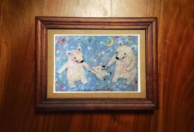 ポストカード「しろくまの親子」「花束の思い出」2枚セット