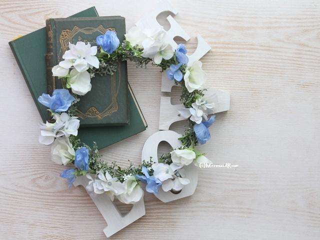 花冠スイトピー(ブルー)と紫陽花(?GY/BL)のブルーミックス