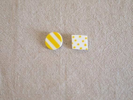 しましまと水玉のブローチ/小(黄色)