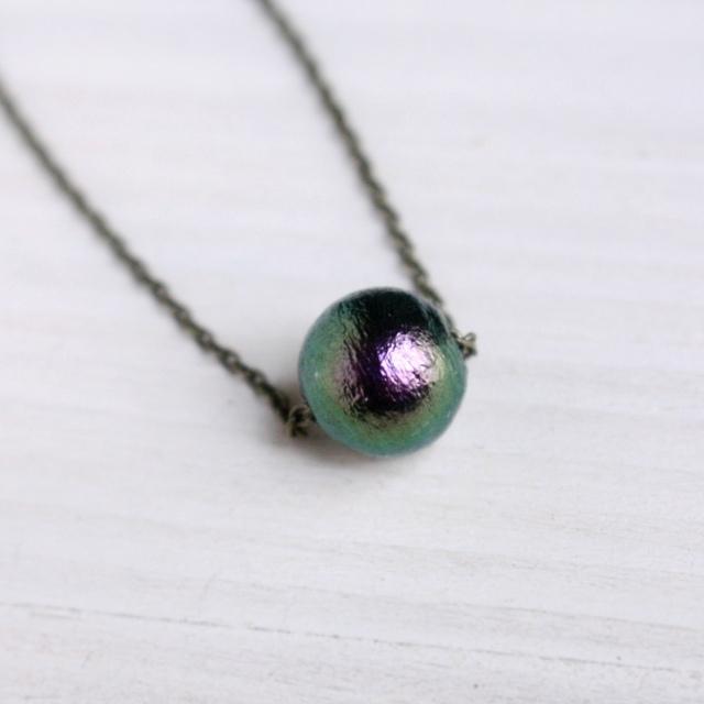 深緑×紫コットンパール1粒ネックレス