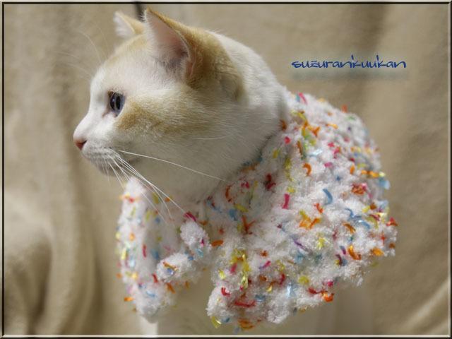 【犬猫用】ケープ首周り25cm 501<ホワイトカラフルリボン付き>