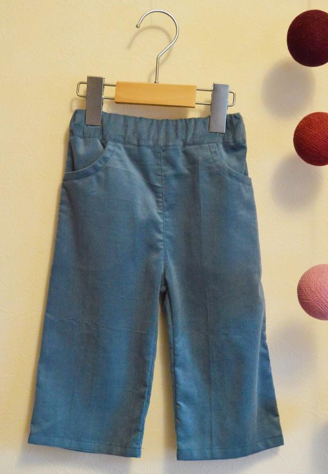 ベビー&キッズ 85-90 フレンチシックなコーデュロイブルーグレーのシンプルズボン