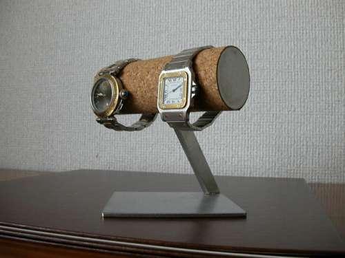 プレゼントに!2本掛け丸パイプ菱形台座腕時計スタンド ak-design