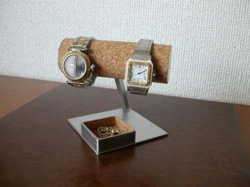 2本掛け角トレイ丸パイプ菱台座腕時計スタンド ak-design