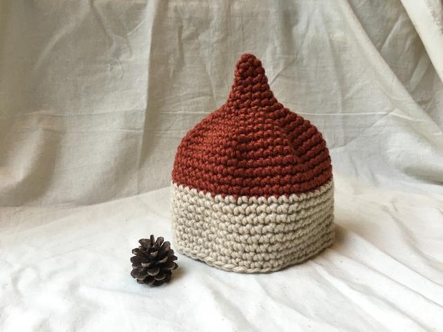 こびと帽子 Sサイズ*バイカラー赤茶_beije