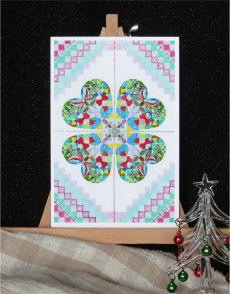 ?Christmasリースキラキラカードと別のカード 2種類セット
