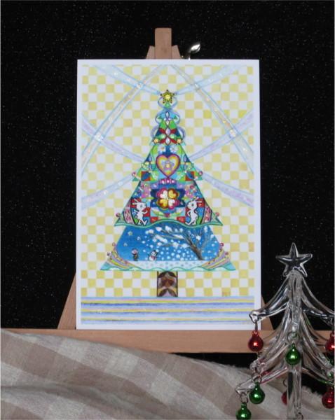 ?うさぎのクリスマスダンスキラキラカードと別のカード 2種類セット
