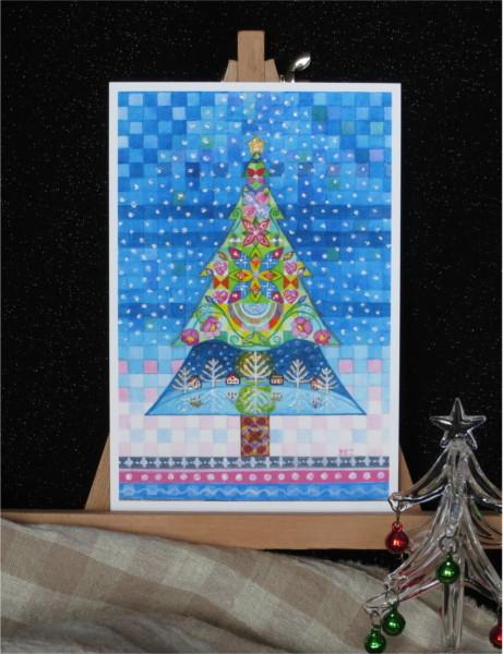 ?湖のほとりのクリスマスツリーキラキラカードと別のカード 2種類セット