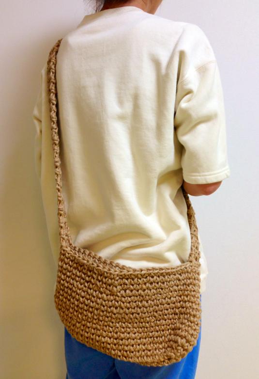 麻紐手編み斜め掛けバッグ