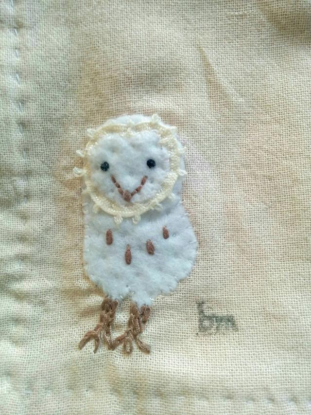 メンフクロウのハンカチ。布地変更→綿麻