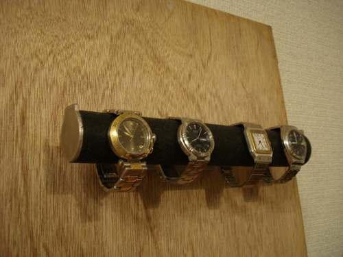 腕時計スタンド ブラック4本掛け丸パイプウォッチ収納壁付きスタンド ak-design
