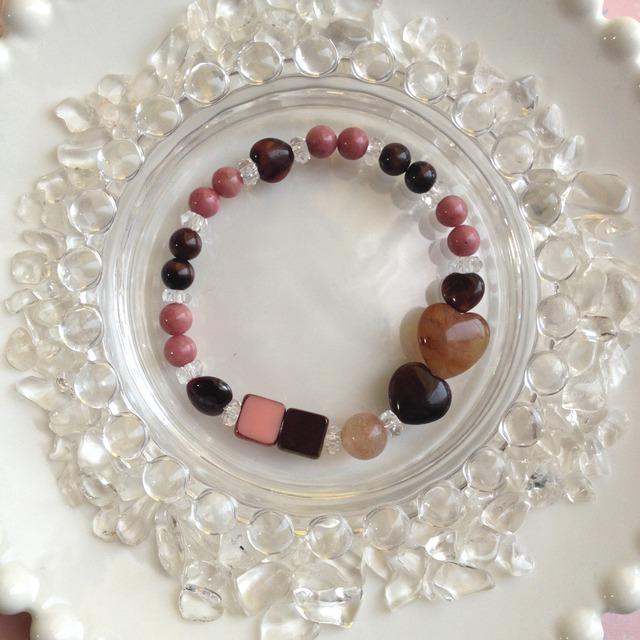チョコレートカラーの天然石ブレス Aストロベリーチョコレート【送料82円〜】