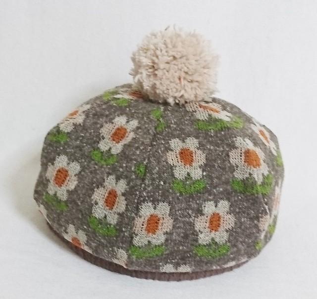 レトロ花柄ニットベレー帽 52