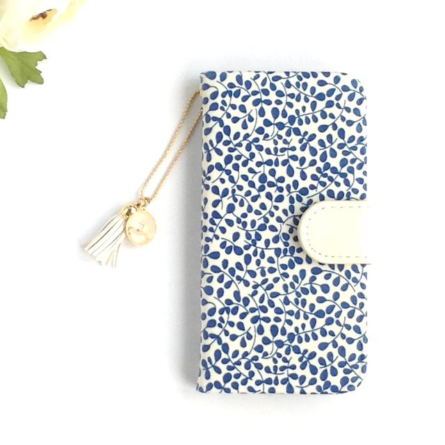 リバティiphone6 6S手帳型ケース ガーデントレイル (イニシャル&誕生石 タッセルストラップ付き)全機種製作可