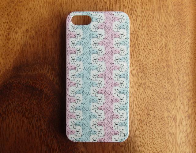 iPhone5(s)ケース『いっぱいハリネズミ』(ピンク×ブルー)