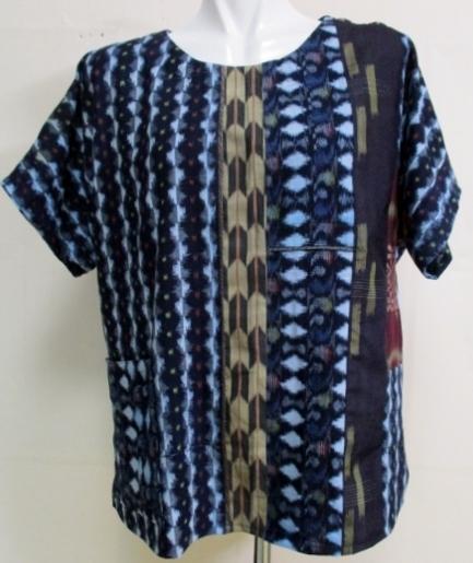 着物リメイク 絣作ったシャツ 1828