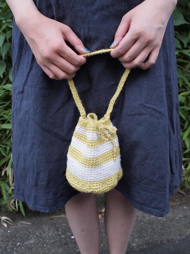 底丸ボーダーの巾着麻バッグ【黄色×白】
