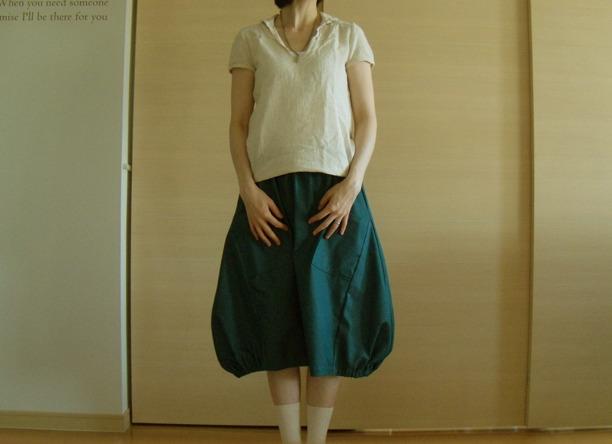 送料無料*ピーコックブルーのふんわりバルーンスカート