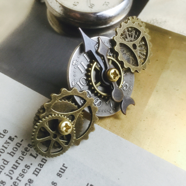219051523e 小振りの時計の文字盤と歯車のバレッタno.20/スチームパンク ...