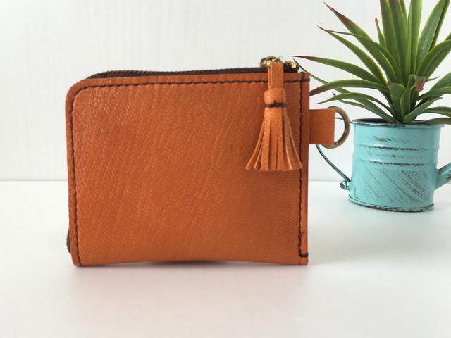 レザーL字ファスナー財布(オレンジ)