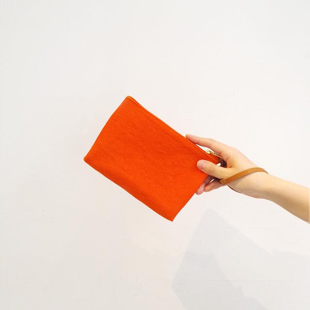 """<再販売開始!>倉敷帆布のクラッチバッグ """"100% orange"""""""
