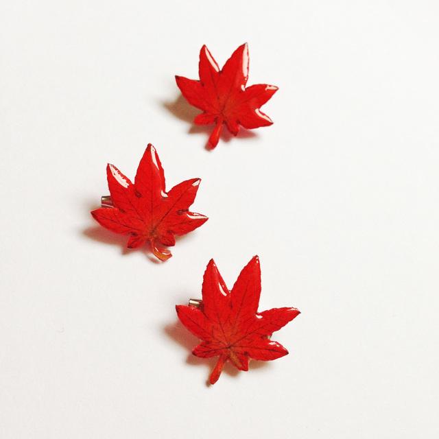 紅葉のミニブローチ