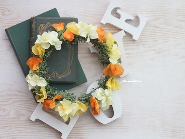 花冠スイトピー(オレンジ)と紫陽花(?YELLOW )のビタミンミックスハロウィンカラー