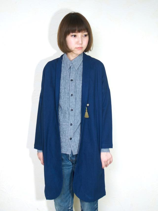 monk coat short/ indigo