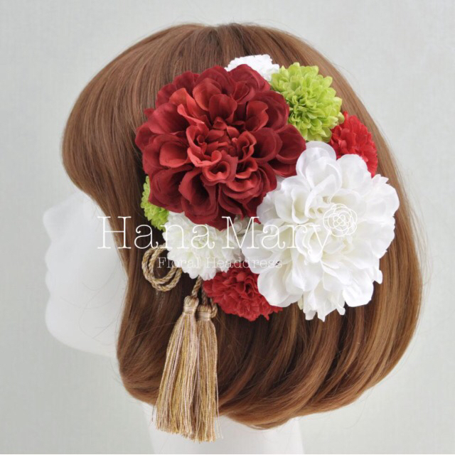 人気カラー ダリアとピンポンマムの髪飾り