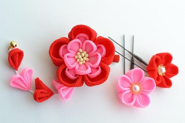 tumami*桃色の花 クリップ