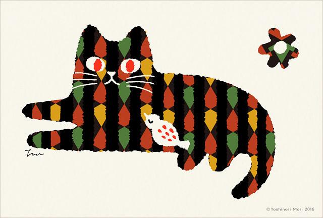 ポストカード|トラ猫と鳥12枚セット