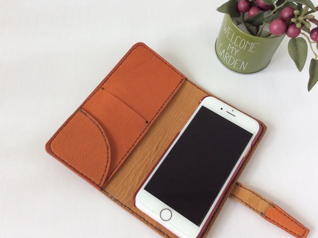 本革  iPhoneケース (オレンジ)