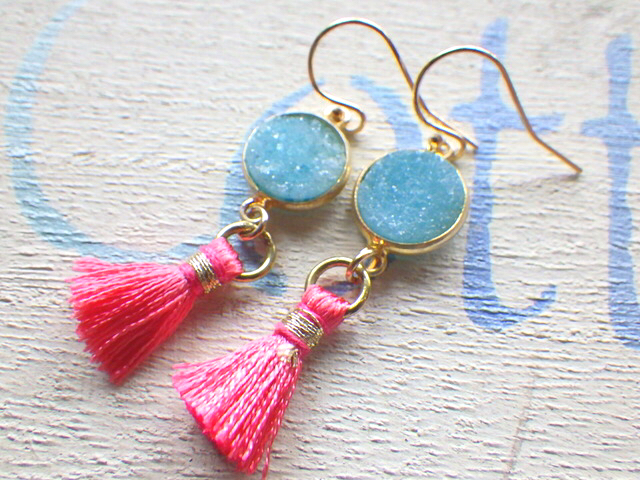ocean druzy tassel earrings  14kgf