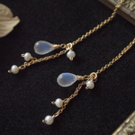 Royal blue moonstone long pierce