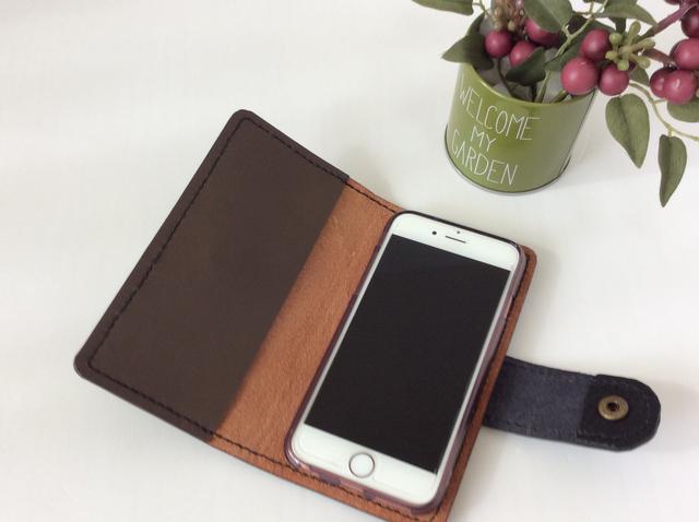 本革  iPhoneケース (焦げ茶B)