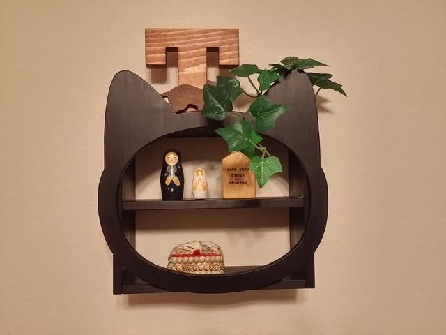 受注製作☆木製☆ネコ顔飾り棚☆マットブラック