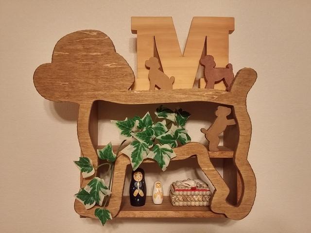 受注製作☆木製☆トイプードル飾り棚☆ダークウォルナット