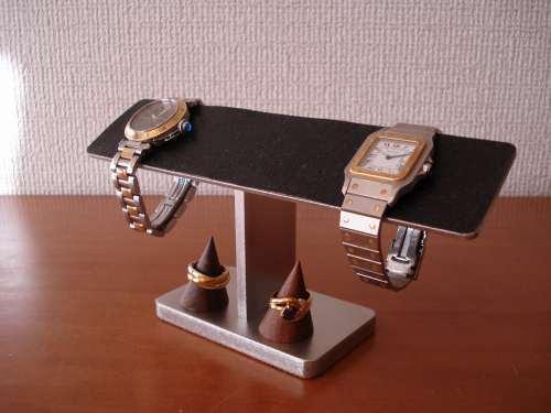 プレゼントに!4本掛けブラックバー腕時計スタンド 指輪スタンド付き(未固定) ak-design