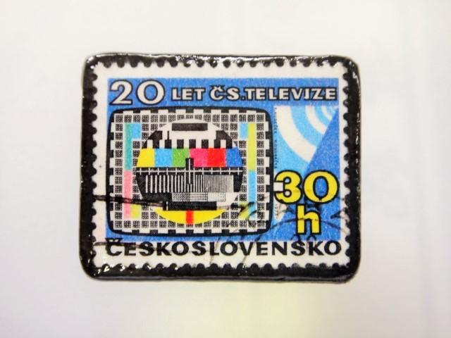 チェコスロバキア  切手ブローチ1487