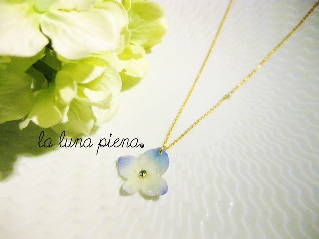 ◇k14gf◇ 紫陽花のひと花ネックレス